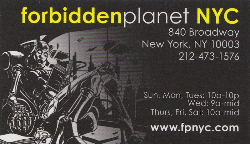 Nyc black white yellow in print jen rocks fashion business card for forbidden planet comic book store near union square park reheart Choice Image